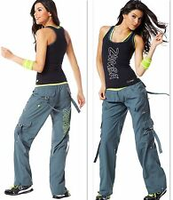 ZUMBA  FITNESS  2 PIECE SET!! CARGO Cargos Capri PANTS & Top Shirt RACERBACK