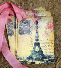Hang Tags  FRENCH PARIS EIFFEL TOWER POSTCARD TAGS or MAGNET #105  Gift Tags