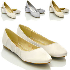 NEW WOMENS FLAT BALLERINA LADIES BRIDAL WEDDING IVORY WHITE PUMPS SHOES SIZE 3-8