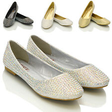 NEW WOMENS DIAMANTE BRIDAL LADIES SPARKLY BRIDESMAID BALLERINA PUMPS SHOES SIZE