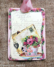 Hang Tags  ROSES TEACUP JOURNAL LETTER TAGS or MAGNET #71  Gift Tags