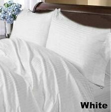 """1000TC Bedding Sheet Set 100% Cotton With Extra Fit Pocket's Striped """" White """""""