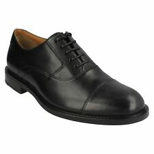 Clarks Dorset Boss Black Leather Smart & Traditional Lace Up Shoes Wide Fitting