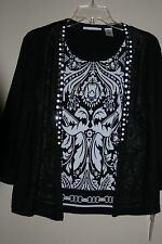 Alfred Dunner Black 3/4 Sleeve Layered Beaded Sweater P/S, P/M, P/L