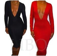 Women Sexy Bodycon V-Neck Long Sleeve Bandage Cocktail Evening Party Club Dress
