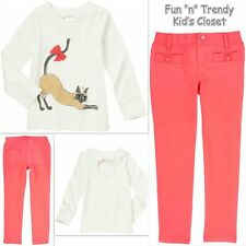 NWT OUTFIT SET GYMBOREE PURRFECTLY FABULOUS GIRLS SIZE 4 5 PANTS KITTY SHIRT TOP