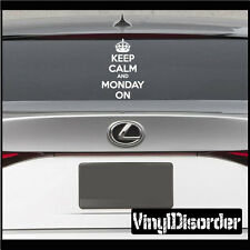 Keep Calm and Monday On Vinyl Wall Decal or Car Sticker-keepcalmandmondayonEY