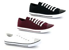 LADIES SPOT ON LACE UP CANVAS TRAINER STYLE SHOES F8955 IDEAL FOR EVERDAY