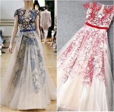 New Runway Organza Embroidery Red White Sheer Long Maxi, Evening Formal Dress