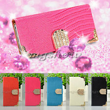 Luxury Bling Diamond Magnetic Leather Flip Wallet Case Cover For Various Phone