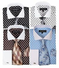 Men's French Cuff Dress Shirt with Polka Dot Design by George's VH613