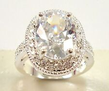 Noble Huge artificial Clear White sapphire Gemstones silver Ring Size 6 7 8 9 10