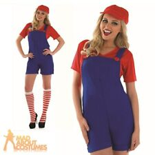 Sexy Plumbers Mate Lady Costume Ladies 80s Fancy Dress Red Super Mario 8-30
