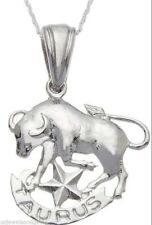 0.925 Sterling Silver Zodiac Taurus Bull May & June Charm Pendant Necklace