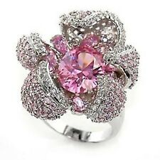 M80316pb OPENING FLOWER PINK SAPPHIRE & PAVE SET  SIMULATED DIAMOND RING WOMENS