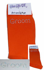 AB Diamante Bling Crystal Mens Orange Wedding Socks