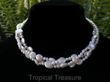 Triple strand white pearl necklace - coin & potato pearls - 925 Silver clasp