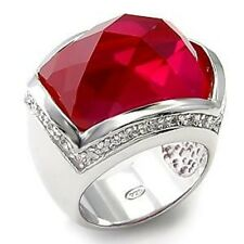 M7X157PB RED RUBY ROCK COCKTAIL   925 SILVER SIMULATED DIAMOND RING WOMENS