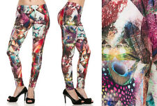NWT Cute Colorful Abstract Peacock Feather Printed Leggings One Size S M L SOFT