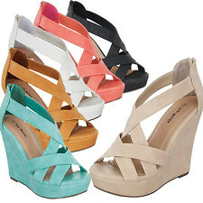 NEW Criss Cross Strappy Women High Heel Wedge Party Sandal Platform Lady Shoes