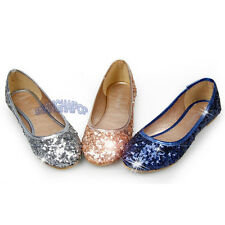 Women Sequin Ballerina Ballet Dolly Pump Shoes Flat Casual Loafer Bling Pumps