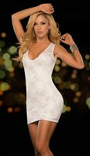 Espiral Ladies Sexy White Floral Lace Evening Clubbing Mini Dress - UK 6 - 16