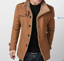 Mens coat wool peacoat Slim Winter Trench coat parka Overcoat Clothes 2color