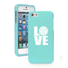For iPhone 4 4S 5 5S 5c Light Blue Rubberized Hard Case Cover LOVE Volleyball