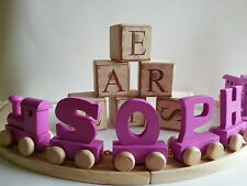 LUXURY PINK WOODEN PERSONALISED NAME TRAIN ALPHABET LETTERS DELUXE GIFT NEW BABY