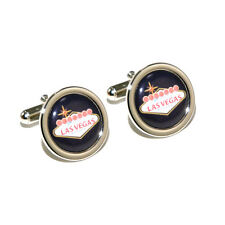 Stag Do/Wedding USA/America Black Las Vegas Sign Cufflinks with Personalised Eng
