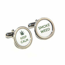 Rasta Marijuana Grass Keep Calm Smoke Weed Cufflinks & Engraved Gift Box Opt.