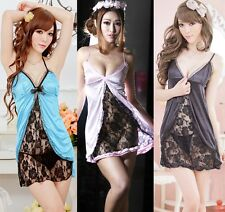 Sexy Fashion Lace and Silk Skirt Lingerie Sleepwear Babydoll Dress + G-String