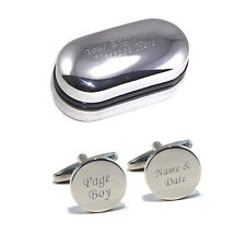 Silver Round Personalised ENGRAVED Page Boy Wedding Cufflinks
