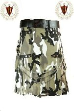 Grey Camouflage Utility Kilt with Chain Cotton Military Highland Gothic
