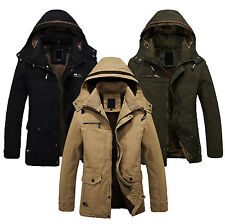 Men's Winter Jackets Military Parka Outerwear Warm Fur lined Long Coat Hooded