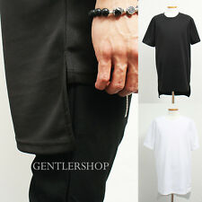 Mens Fashion Neoprene Long Back Hem Short Sleeve T Shirt - 2 Colors, GENTLERSHOP