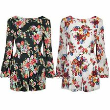 Womens Long Flared Bell Sleeve Floral Print V Back Lined Chiffon Party Playsuit