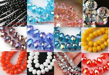 50pcs/80pcs Rondelle Crystal Glass Loose Spacer Beads 12colors&2sizes