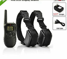 300m LCD 100LV Level Electric Shock Vibra Remote Pet 2 Dogs Safe Training Collar