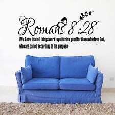 Romans 8:28 Bible Quote Wall Sticker Christian Religion Bedroom Vinyl Decal