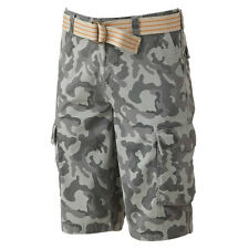 New Urban Pipeline Men's Gray Camouflage Belted Cargo Shorts Size 30 MSRP $44