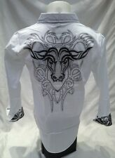 Victorious Western Bulls Bling Button Down Dress Shirt White Roar Wit Excitement