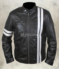 DRIVER Men's Genuine Real Cow Leather Biker Style Jacket with White Stripes