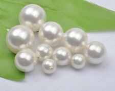 White Half drilled hole shell Pearls (For pendant or earring) 4mm 6mm-20mm