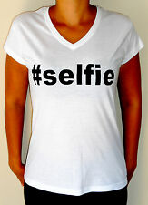 Instagram Selfie #selfie Hashtag Black or White Women's Fashion V-Neck T-Shirt