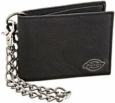 Dickies Black Leather Slim Bifold Wallet w/Metal Chain