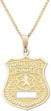 New 10k or 14k Yellow Gold Nassau County Police Officer Pendant Charm Necklace