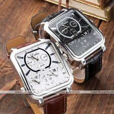 1pc Square Case 3-Time Zone Leather Band Mens Fashion Wristband Watch Jewelry