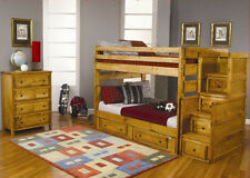 Bunk Bed Multifunctional youth Bedroom Furniture Set with stairway chest drawer