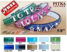 Rhinestone Personalized Leather Collars, Custom Name Dog Collars -small - USA